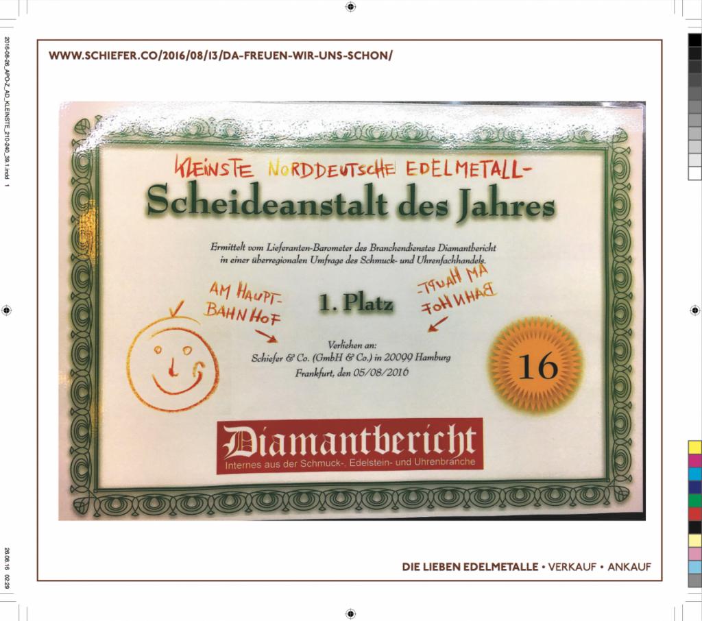 Schiefer & Co. älteste und kleinste Norddeutsche Edelmetall-Scheideanstalt des Jahres gemäß DIAMANTBERICHT 2016