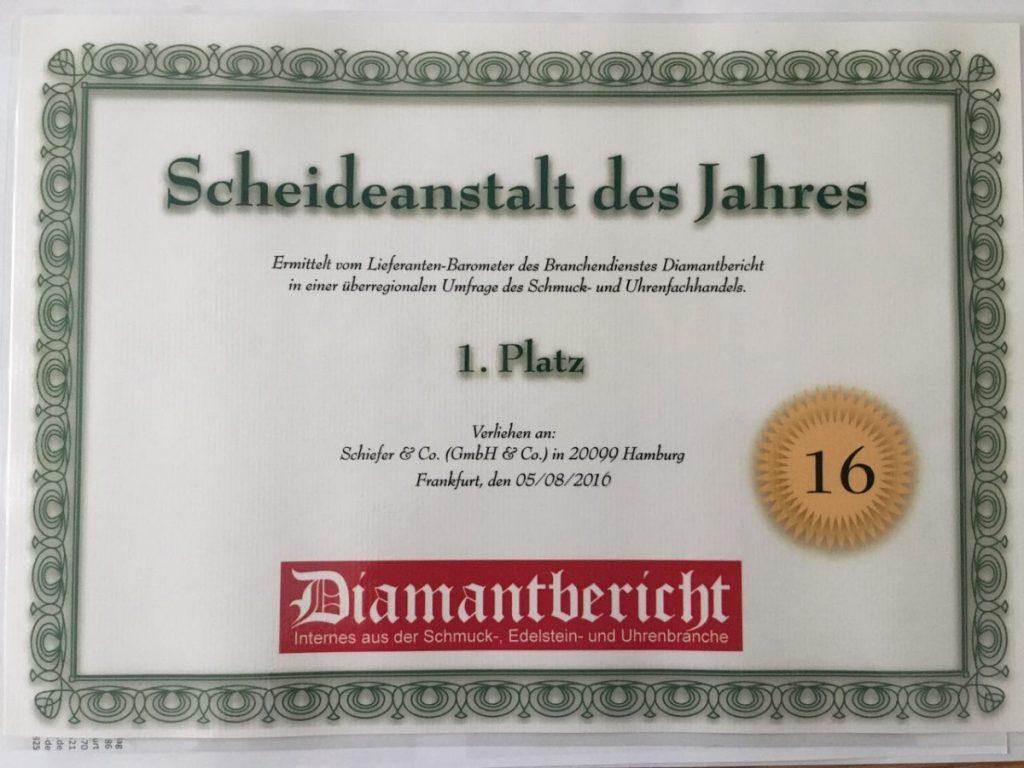 Schiefer & Co. Scheideanstalt des Jahres Diamantbericht 2016